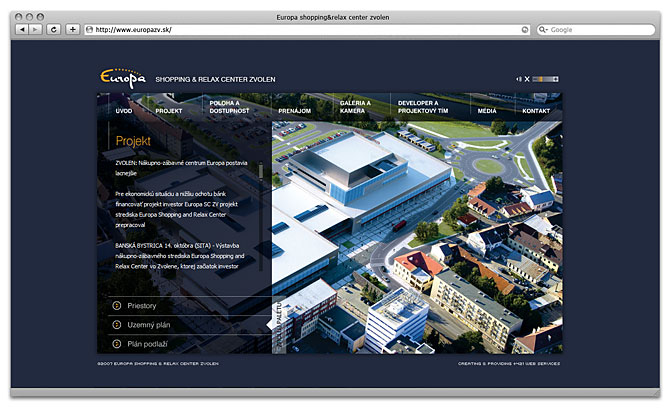 web design - Europa shopping and relax center Zvolen - homepage
