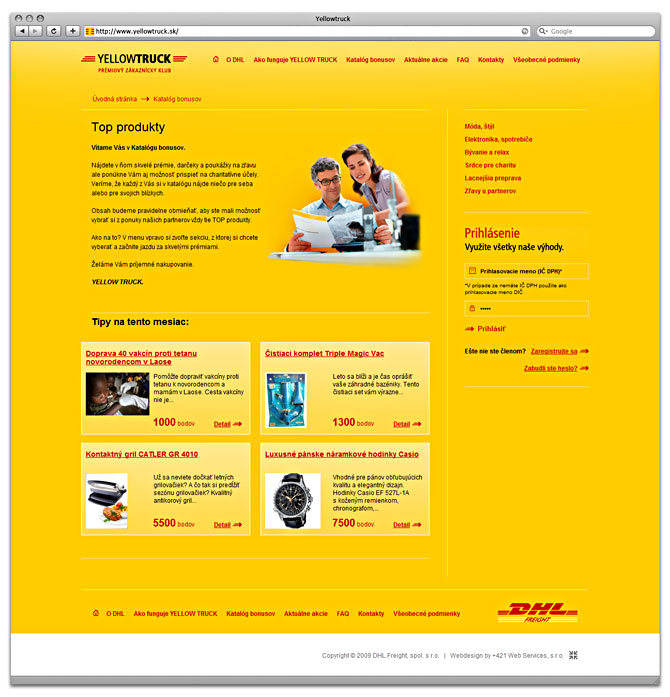 web design subpage yellowtruck -top produkty