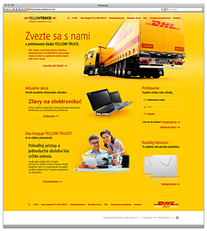 web design yellowtruck -DHL